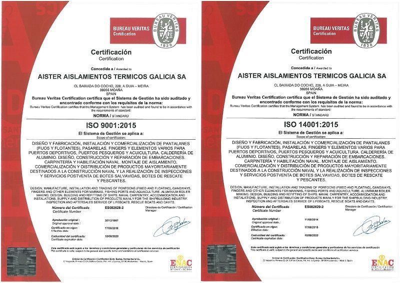 ISO 9001 e ISO 14001 de calidad y medio ambiente.