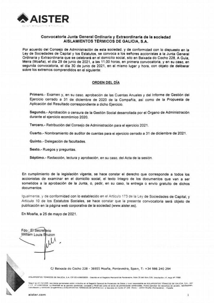 Convocatoria Junta General 2021